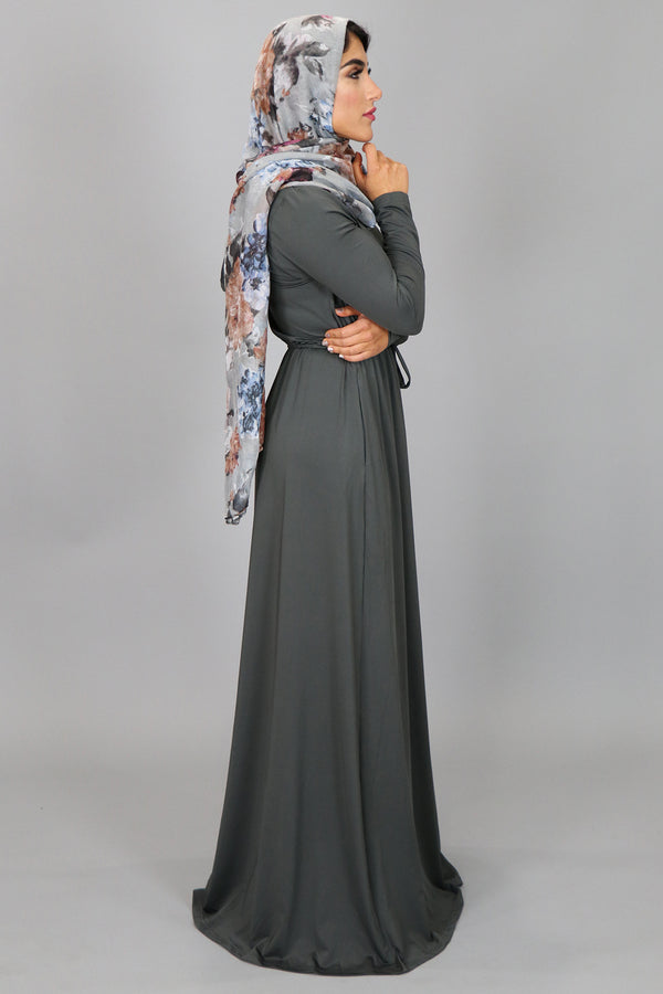 Ash Grey Alexa Zipper Maxi Dress (2097540661305)