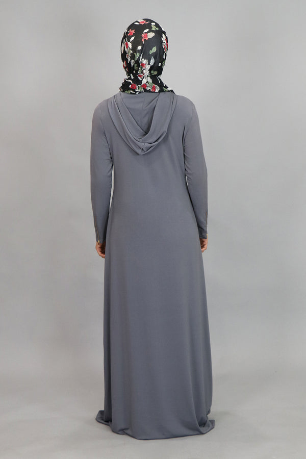 Gray Spandex Hooded Maxi Dress (4534820044857)