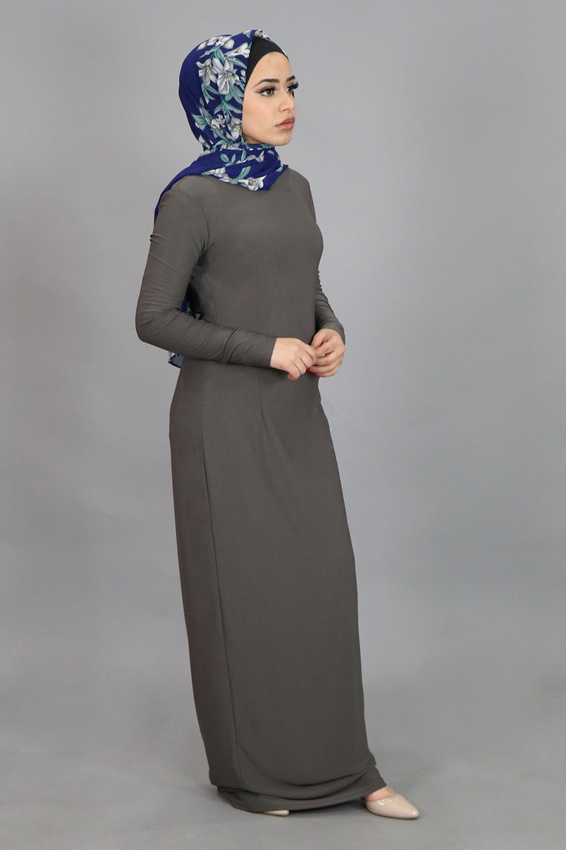 Ash Gray Plain Fitted Spandex Maxi Dress (4540250718265)