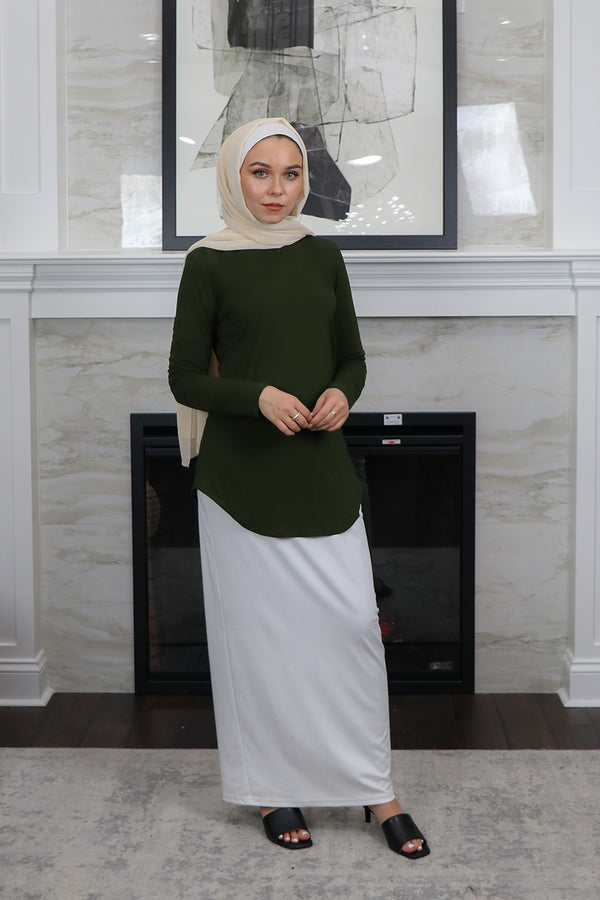 High Neck Long Sleeve Top- Deep Olive
