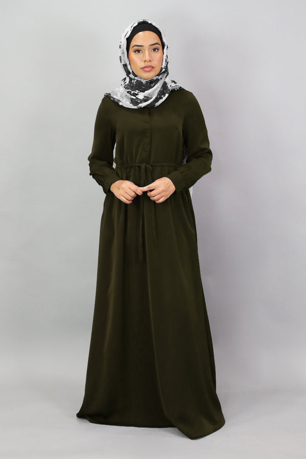 Vine Green Deluxe Soft Button Dress (5300472512680)
