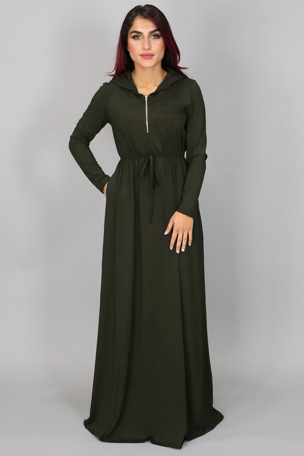 Deep Olive Green Alexa Zipper Maxi Dress (4552285290553)