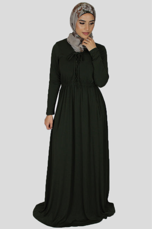 Deep Olive Green Lace-up Spandex Maxi Dress