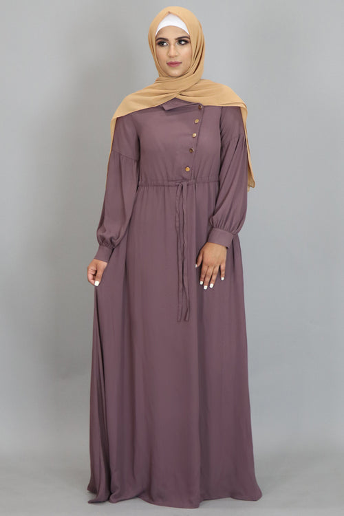 Dark Mauve Chiffon Gold Button Maxi Dress (2350370619449)