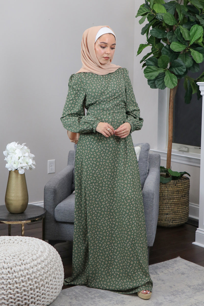 Olive Green Floral Tie Front Maxi Dress