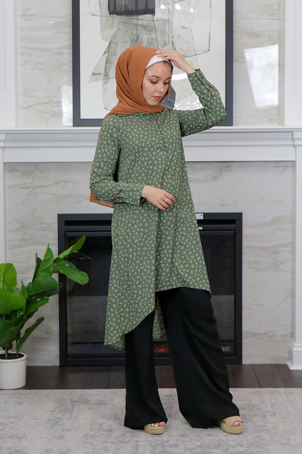Olive Green Floral High Low Tunic