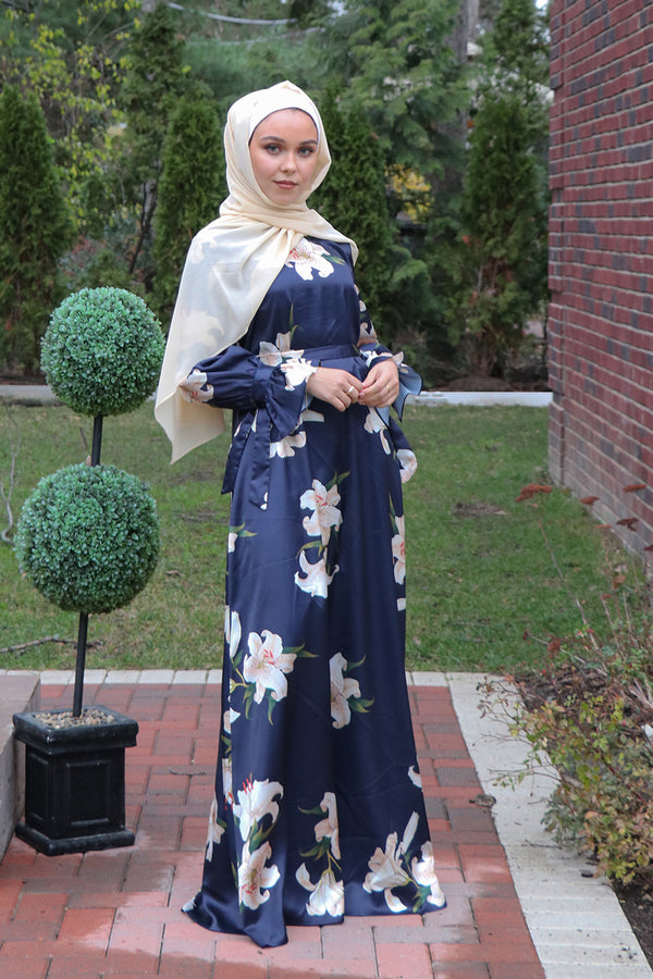 Floral Satin Tie Sleeve Dress - Navy Blue
