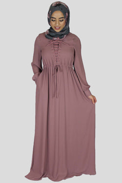 Rosy Mauve Lace-up Chiffon Maxi Dress (754967150649)