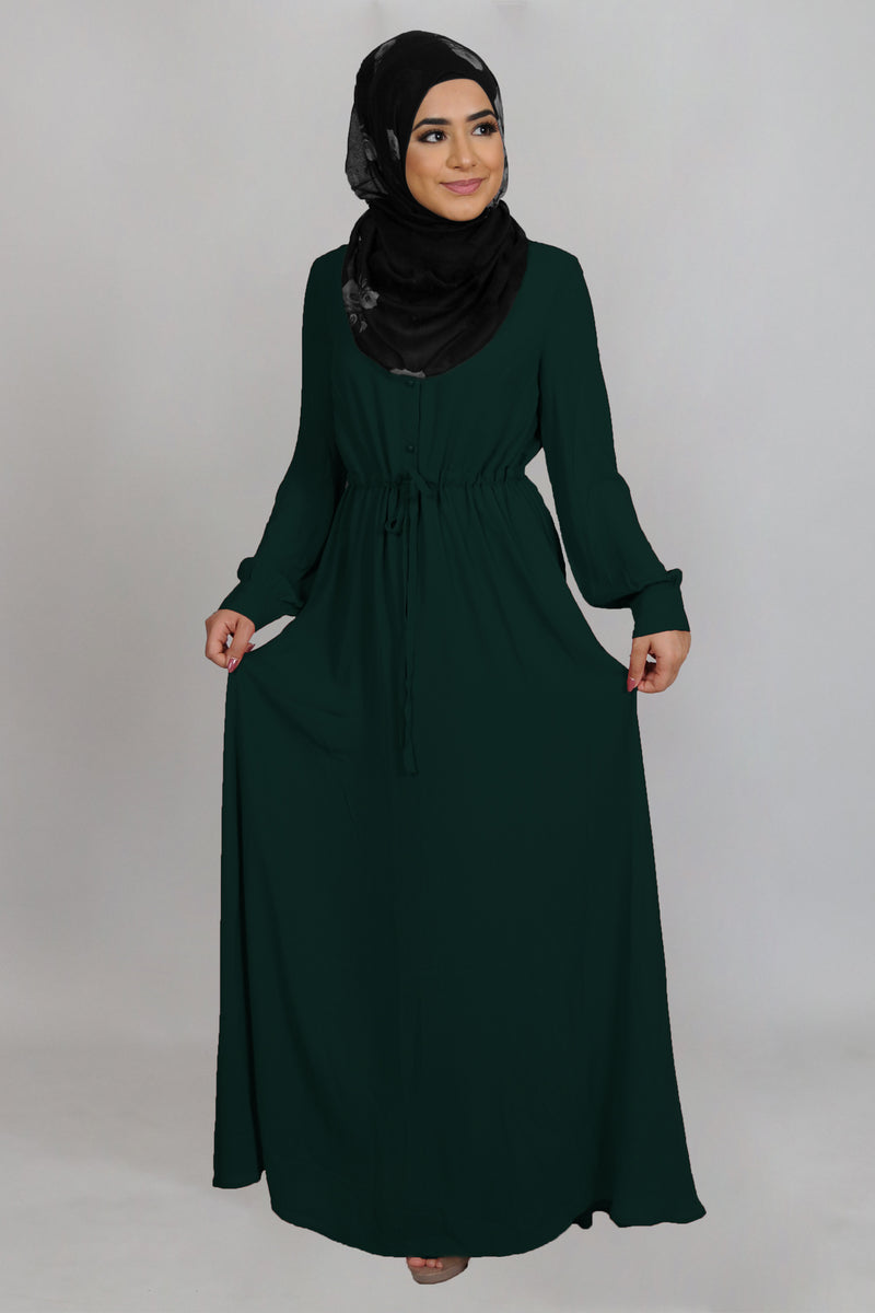 Emerald Green Chiffon Button Maxi Dress (4644810653753)