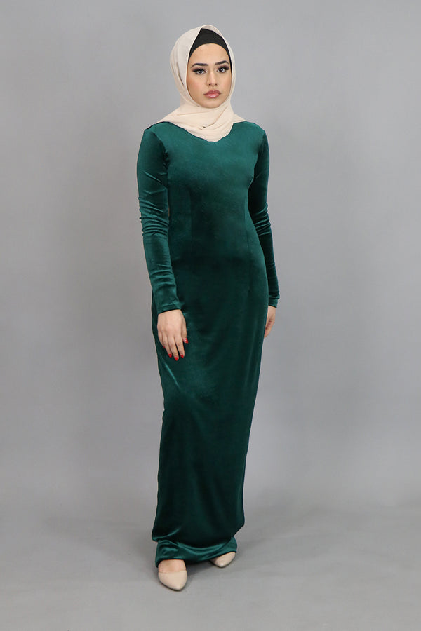 Hunter Green Plain Fitted Velvet Maxi Dress (4549815763001)