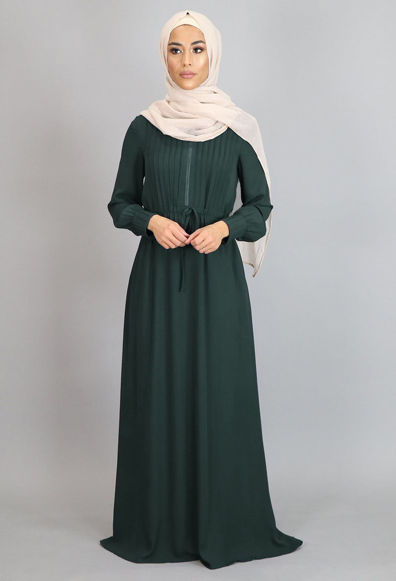 Emerald Green Pleated Chiffon Button Maxi Dress (2361272860729)