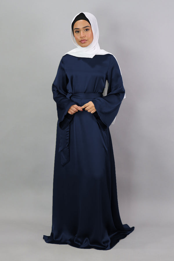 LaMeera Wide Sleeve Satin Dress - Midnight Blue