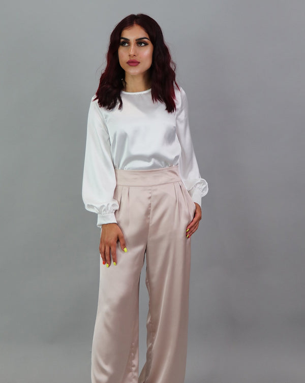 Lameera Satin Pants - Blush Pink