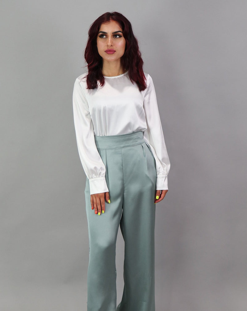 Lameera Satin Pants - Mint Gray