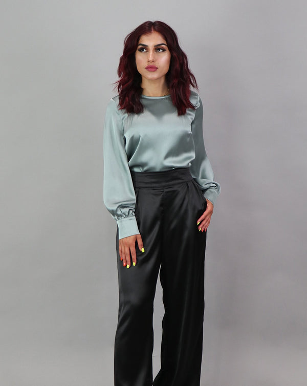 Lameera Satin Pants - Black