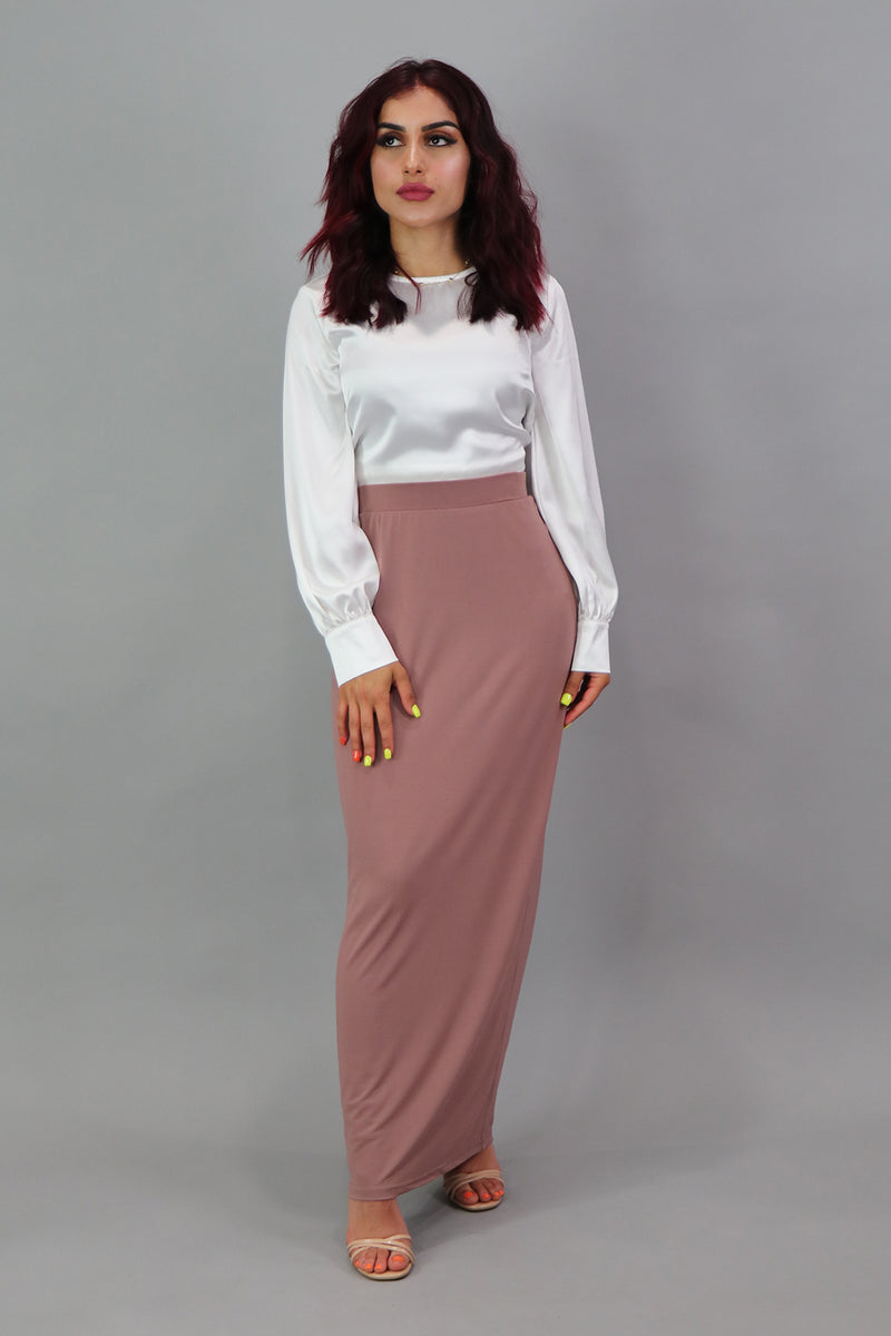 Luxe Spandex Maxi Skirt - Nude Pink