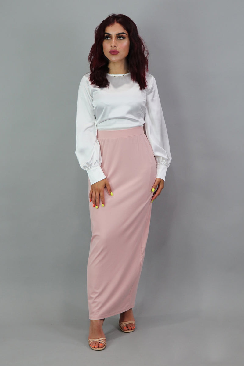 Luxe Silky Spandex Maxi Skirt - Light Pink
