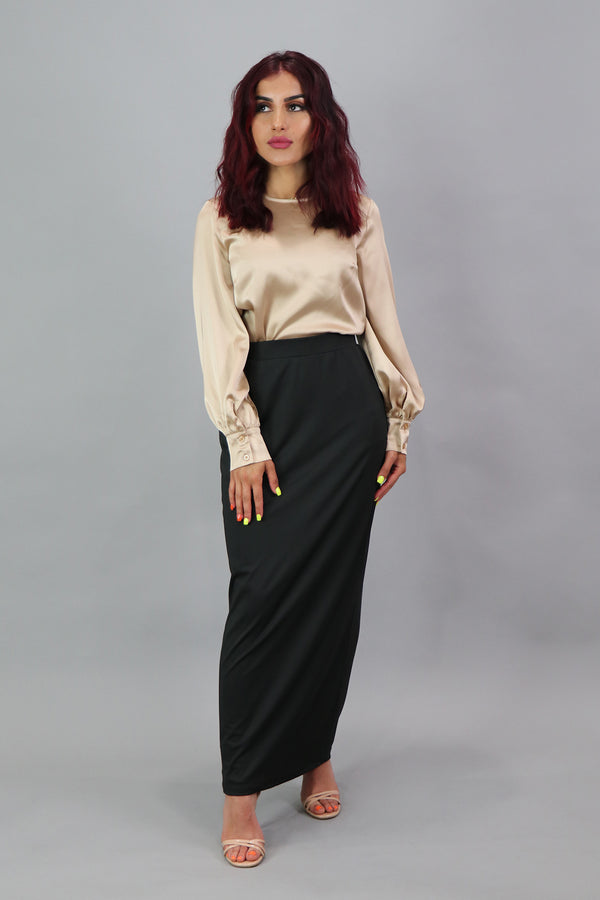 Luxe Silky Spandex Maxi Skirt - Black