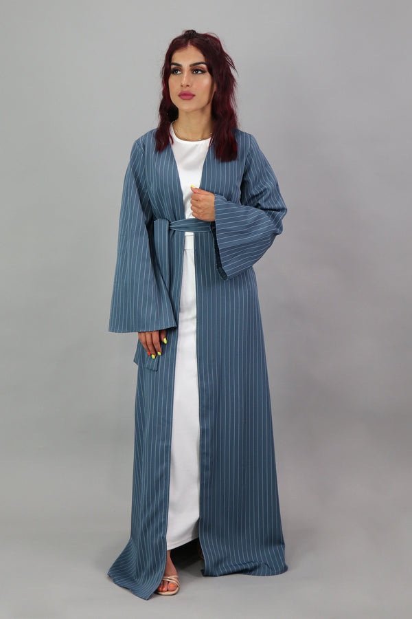 Stripe Longline Cardigan- Blue Gray