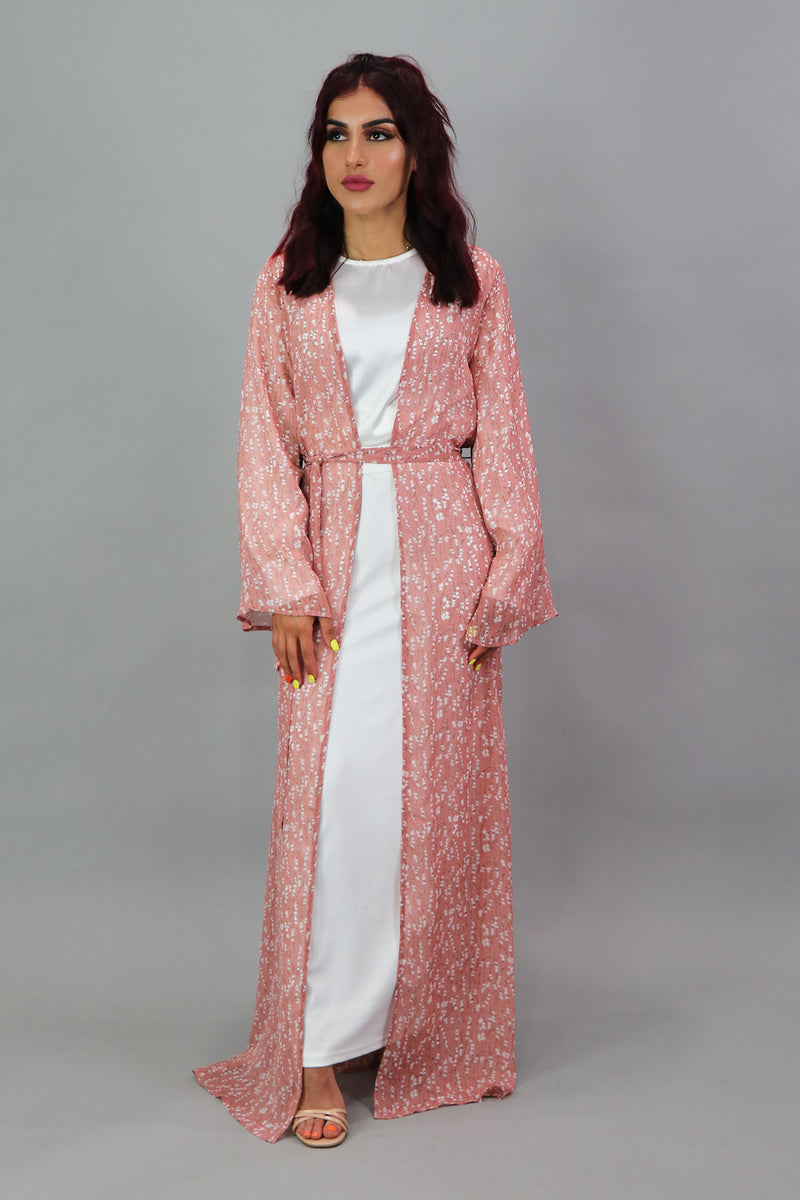 Floral Longline Cardigan- Blush Rose