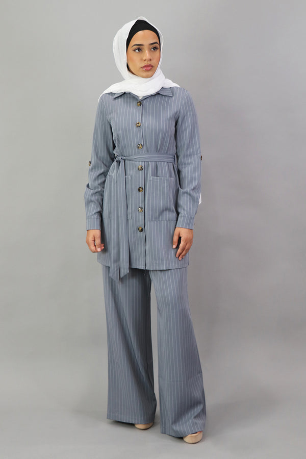 Blazer Striped 2-Piece Pants Set - Blue Gray
