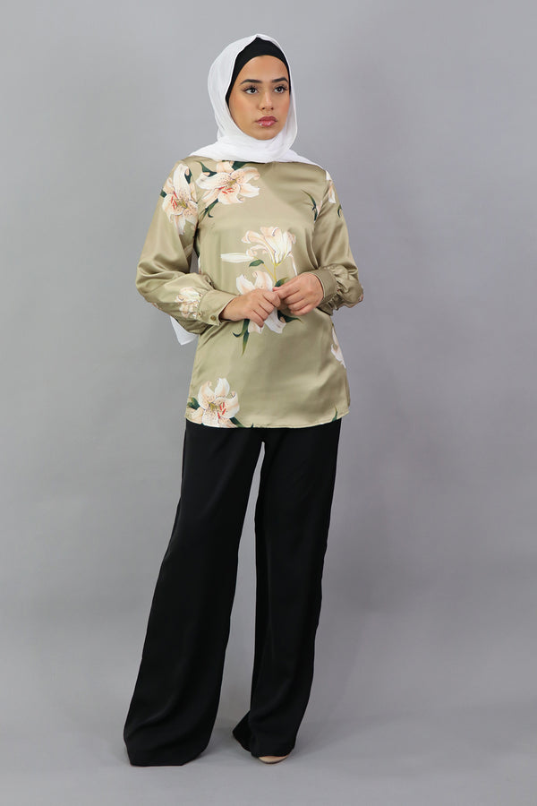 Lameera Floral Satin Blouse - Golden Olive