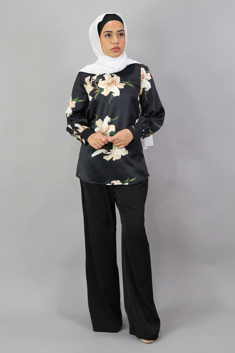 Lameera Floral Satin Blouse - Black