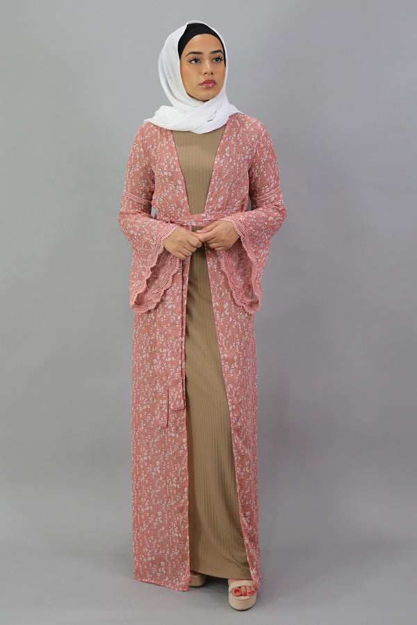 Floral Lace Trim Cardigan - Blush Rose