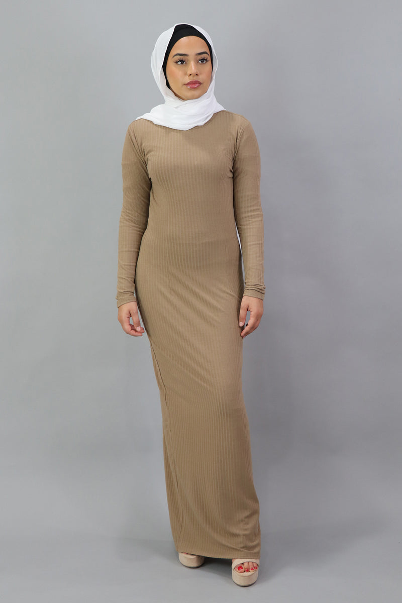 Ribbed Maxi Dress - Sand