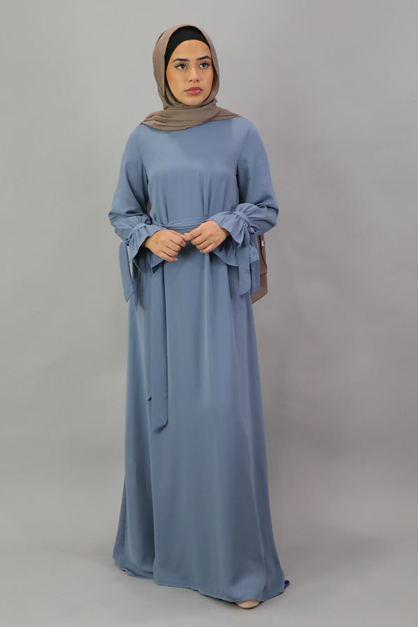 Premium Chiffon Tie Dress - Blue Gray
