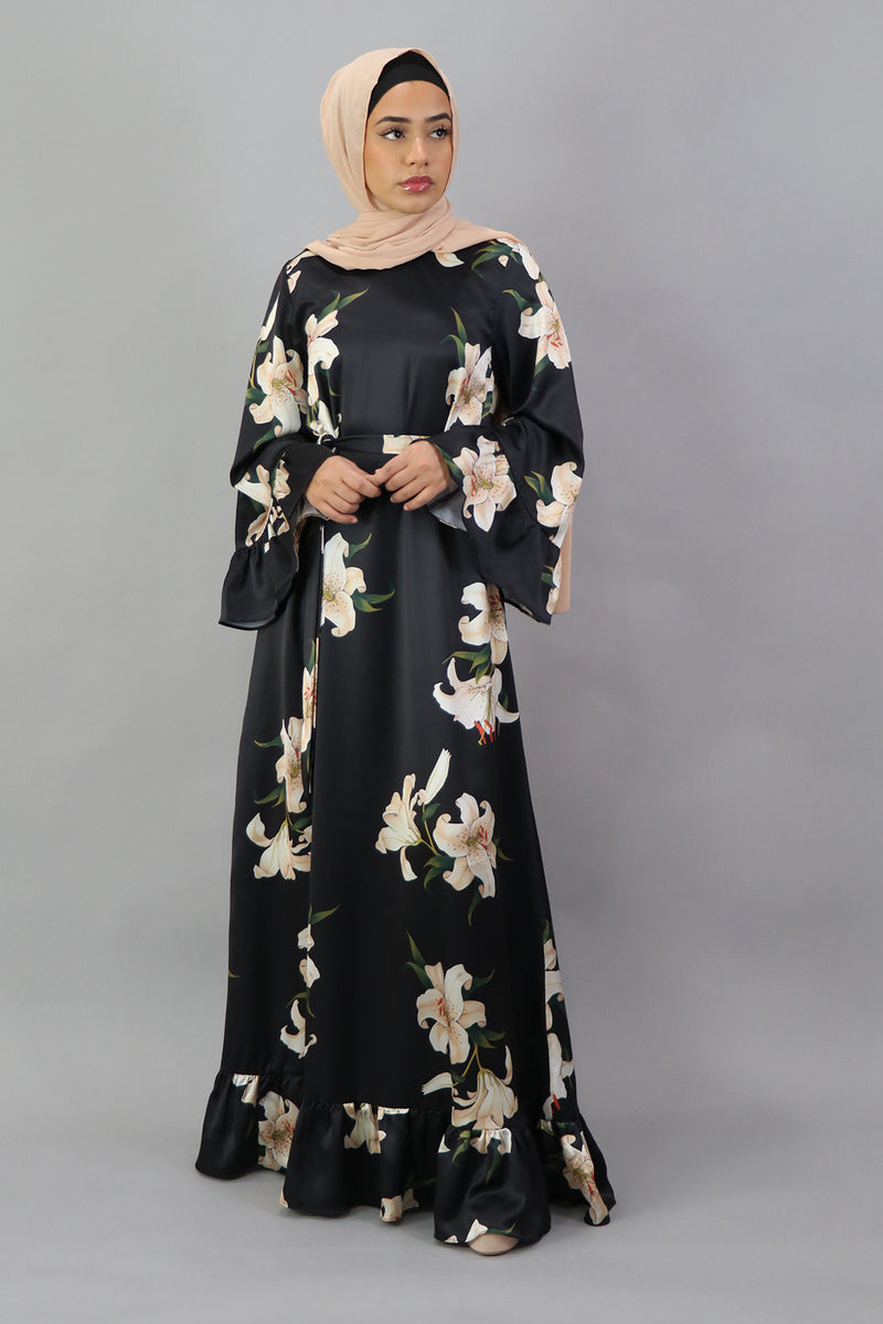 Floral Ruffle Bell Satin Dress - Black