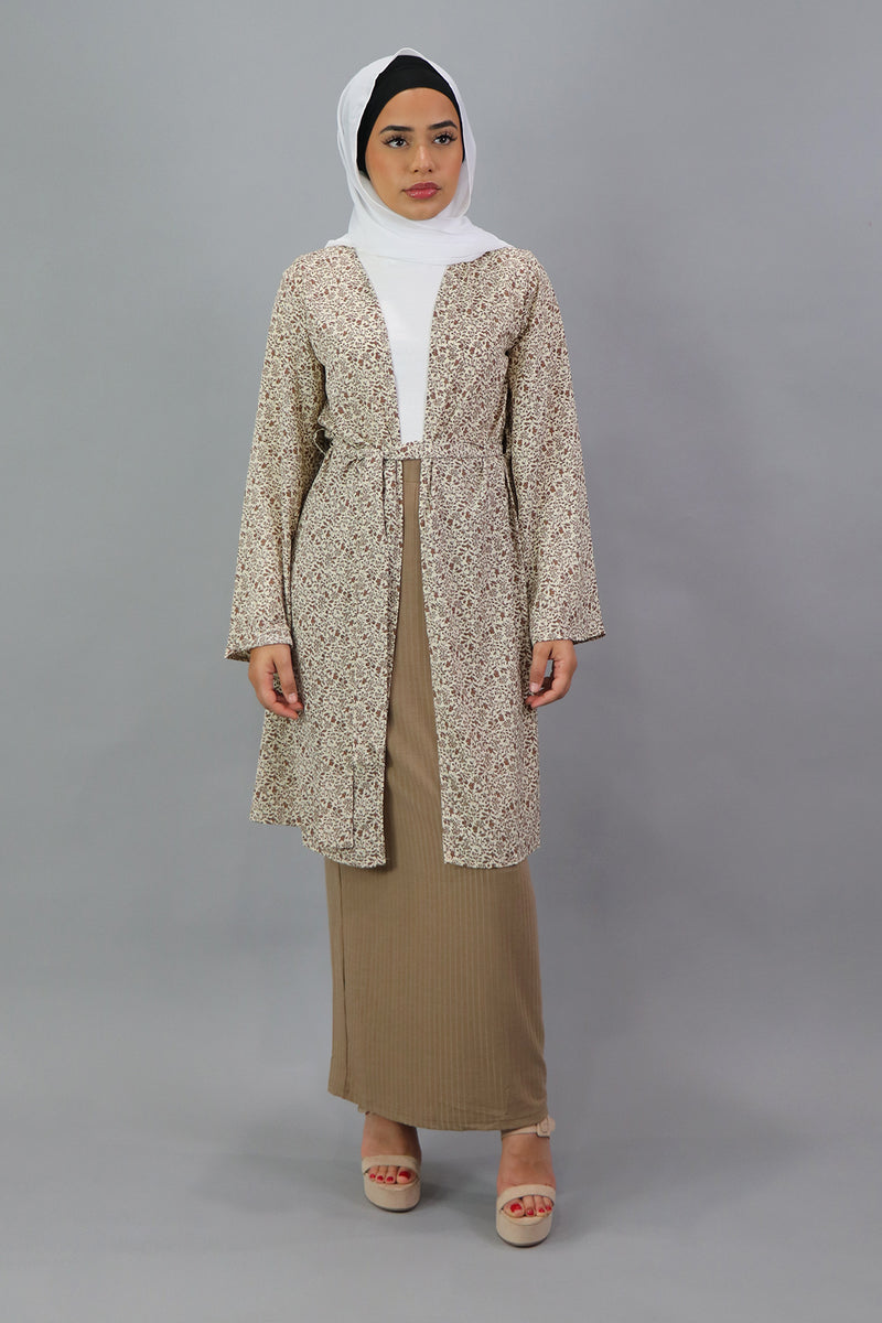 Floral Wide Sleeve Cardigan - Cream