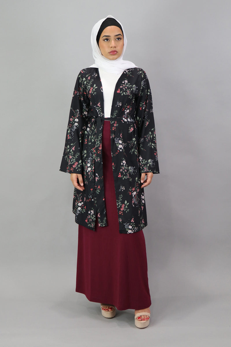 Floral Wide Sleeve Cardigan - Black/Cherry