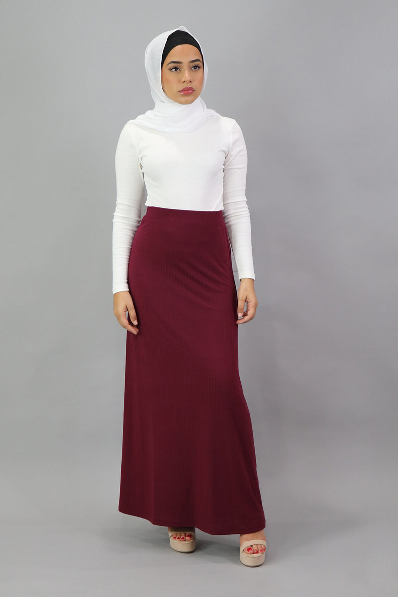 Ribbed Maxi Skirt - Maroon