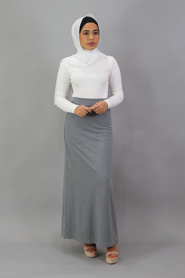 Ribbed Maxi Skirt - Heather Gray