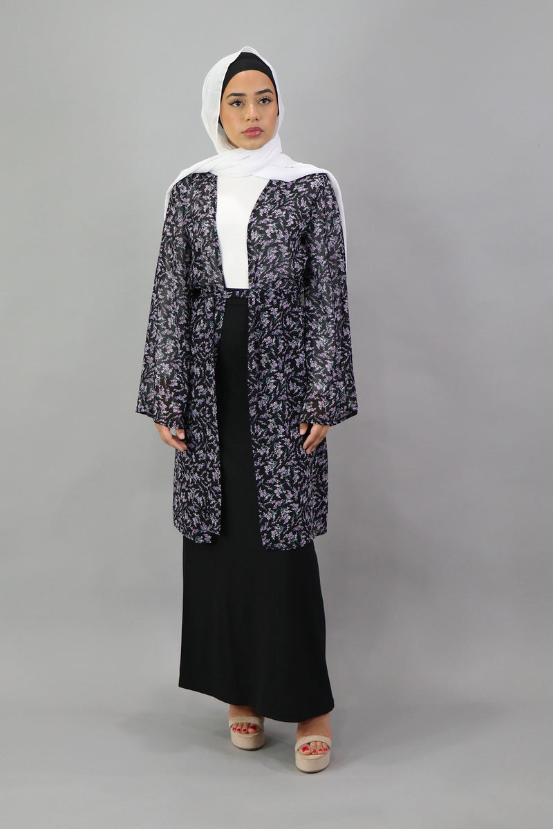 Floral Wide Sleeve Cardigan - Black