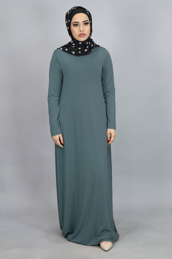 Mint Gray Plain Spandex Abaya