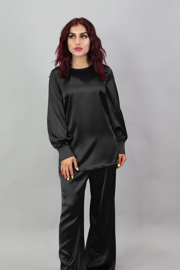 Lameera Satin Blouse - Black