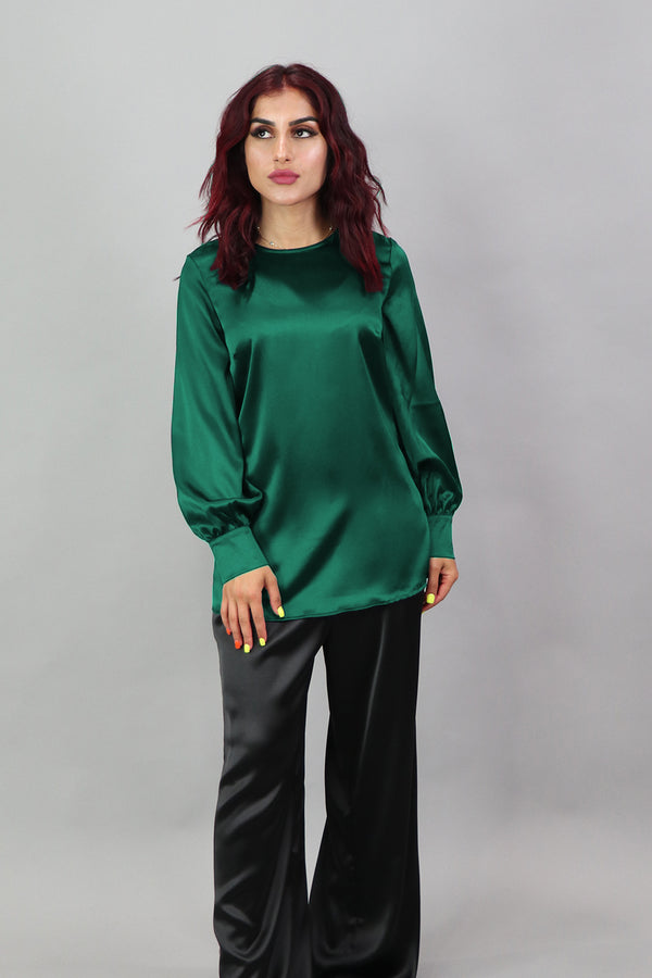 Lameera Satin Blouse - Emerald