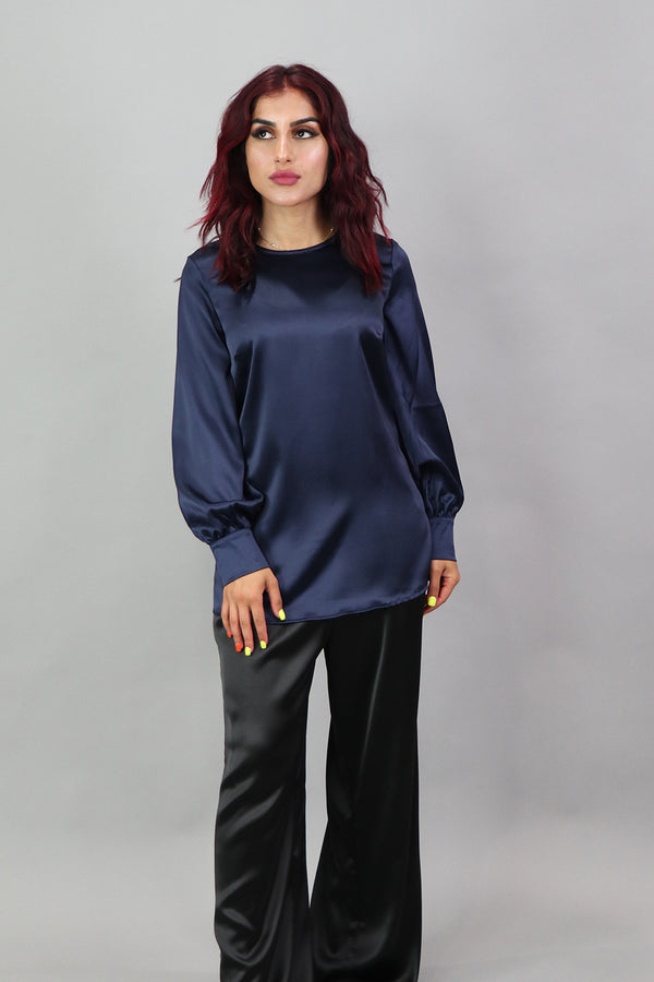 Lameera Satin Blouse - Navy Blue