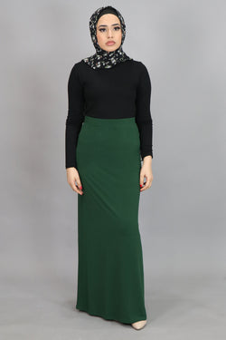 Hunter Green Spandex Maxi Skirt (4537001607225)