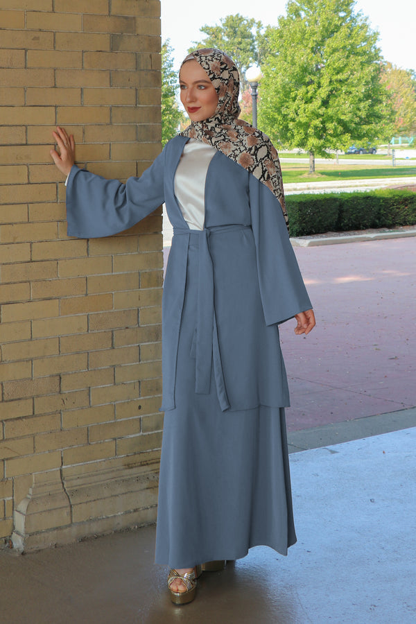 Deluxe Soft Maxi Skirt- Dusty Blue