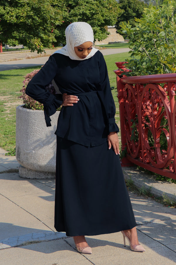 Deluxe Soft Maxi Skirt- Navy Blue