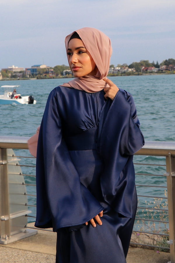 LaMeera Drape Sleeves Satin Dress - Midnight Blue
