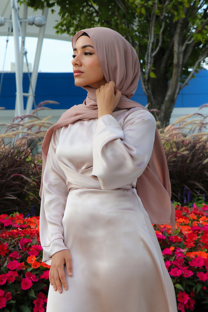 LaMeera Wrap Satin Dress - Blush Pink