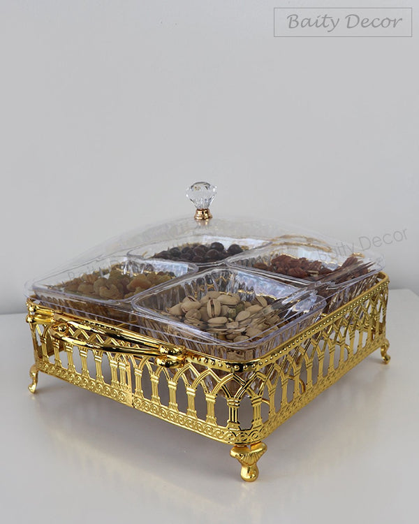 4 Compartment Gold Tray with Lid (4608184188985)
