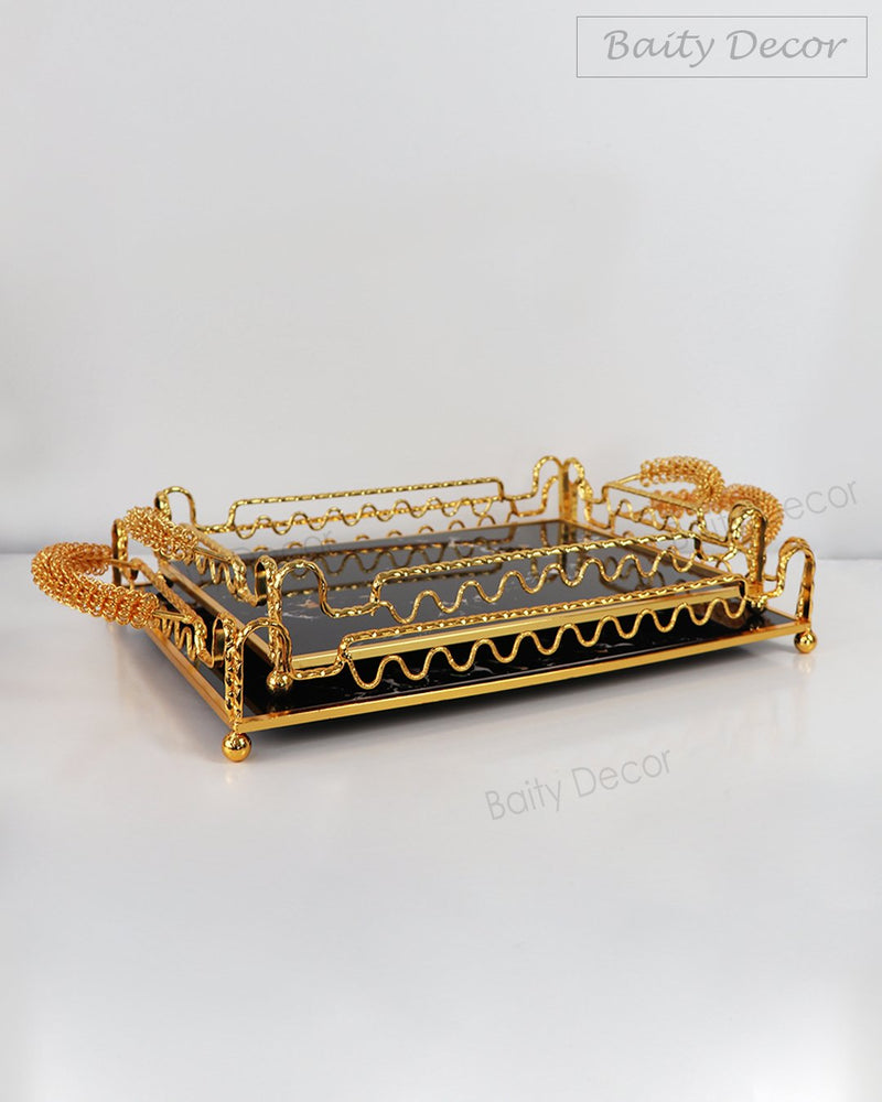 Luxury Black and Gold Tray with Handles (4608109543481)