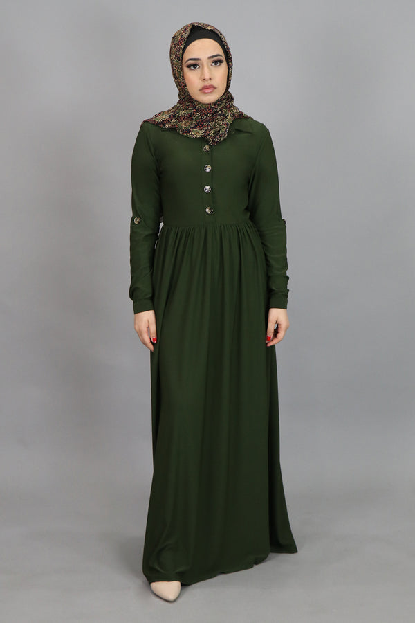 Deep Olive Button-Up Spandex Maxi Dress (4549651398713)
