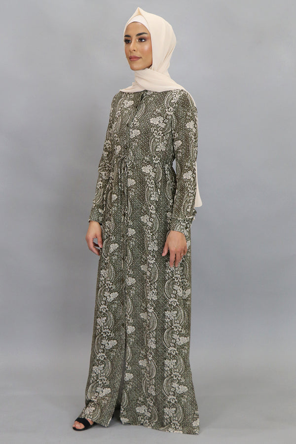 Ash Gray Floral Buttoned-Down Maxi Dress (4547977707577)
