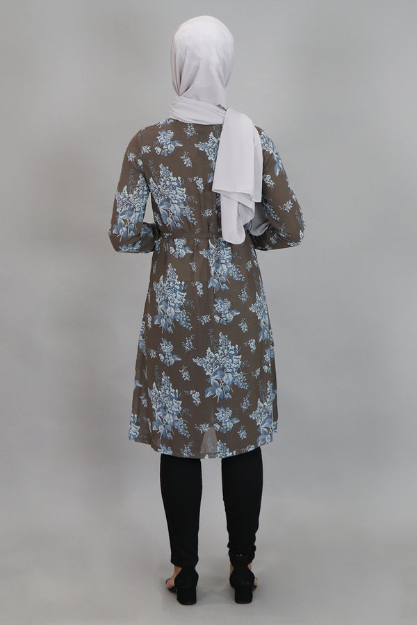 Gray/Blue Floral Long Tunic (4545219887161)